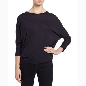 New Vince Dolman Sleeve Black Silk Top Small
